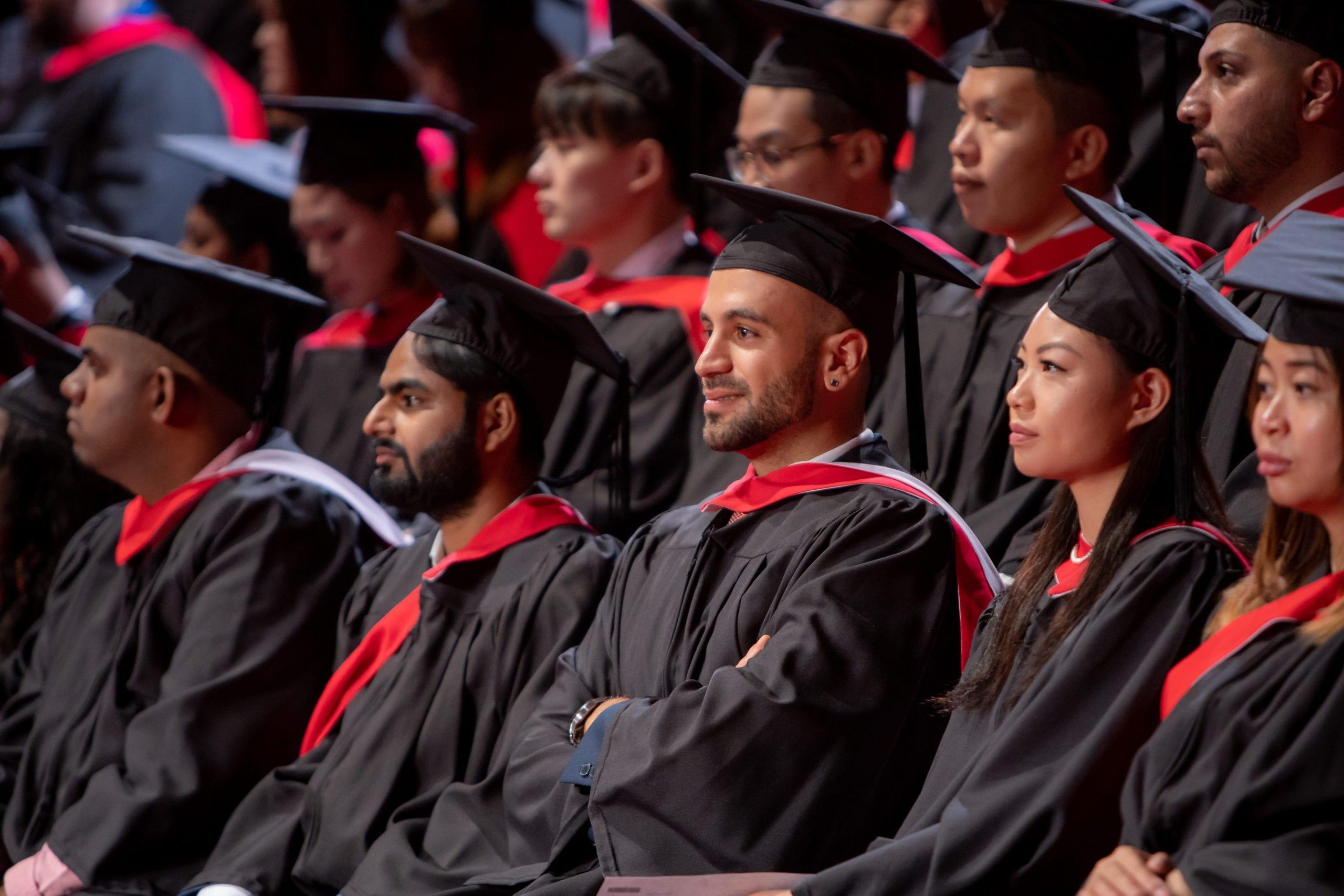 Graduate students gathered at graduate ceremony