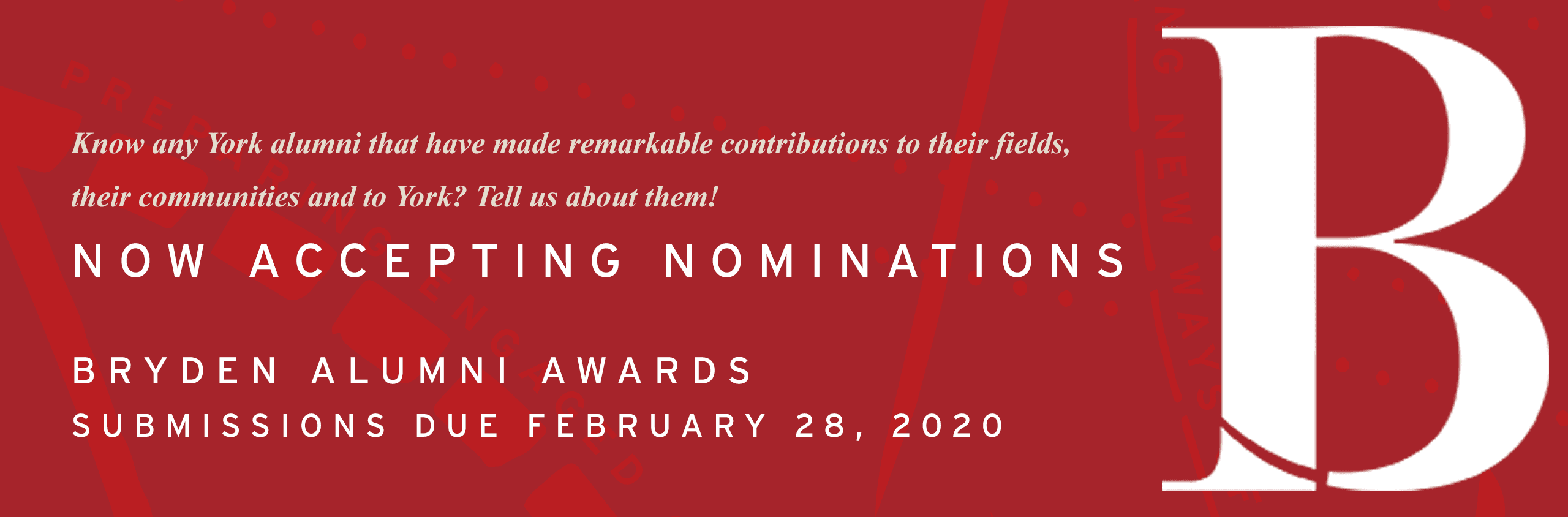 2020 Bryden Nominations